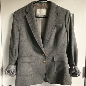 Banana Republic Gray Herringbone Pattern Blazer